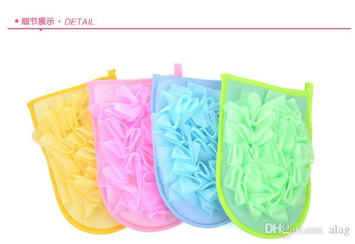 High Quality Gloves bath towel Bathing Spa Handle Body Shower Scrubber Ball Colorful Bath Brushes Sponges Bath Lily Ultra Fine DDG5