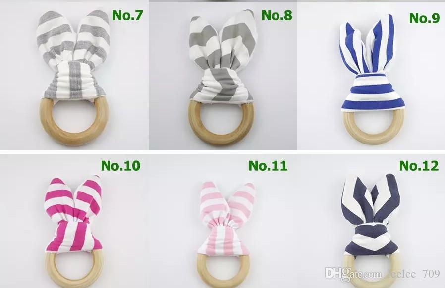 2017 New Bunny Ear Teether Baby Teething Ring Wooden Crinkle Minky Fabric Baby Teething Toy Chevron Polka Dots Striped 20 Patterns Teether