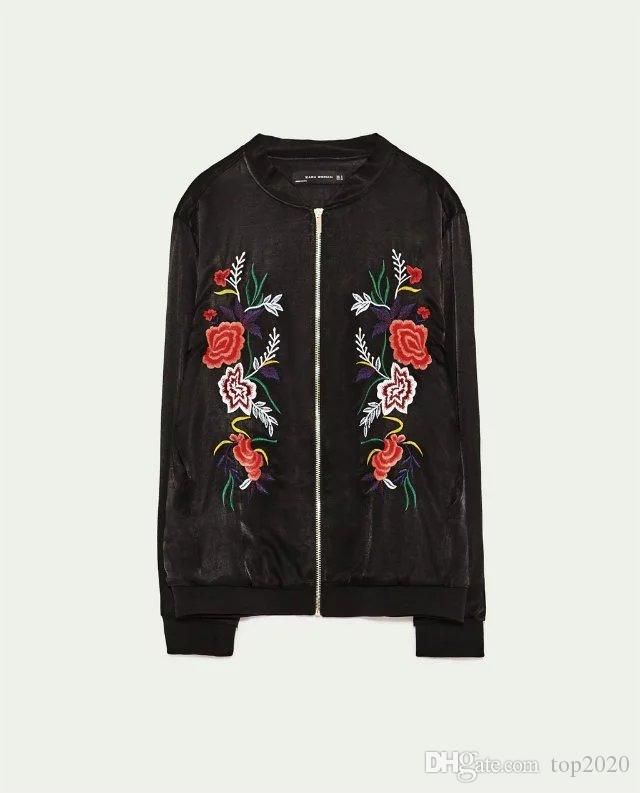 Women Autumn Embroidered Flowers printed silk Jacket Coat classic trend Luxury famous fashion brand top quality Flying baseball suit Jacket