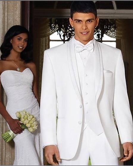 Nouvelle arrivée de haute qualité smux smoked col châle meilleur homme costume blanc garçon d'honneur / marié mariage / costumes de bal veste + pantalon + cravate + gilet