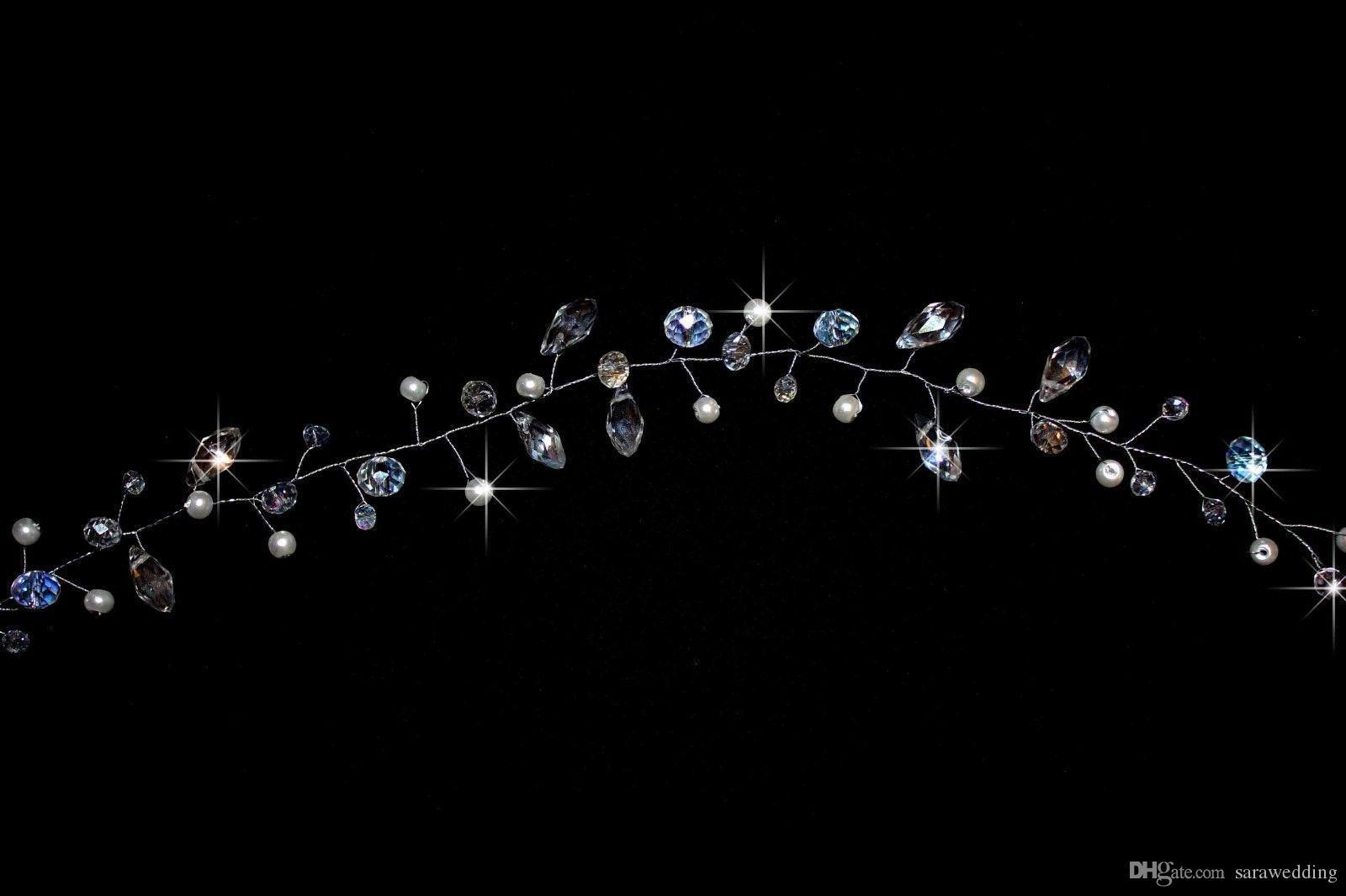 Cristal De Perles De Mariage À La Main De Mariée Cristal De Perles De Couronne À La Main De La Couronne De Coiffure De Mariage De La Bande De Cheveux De La Mariée De Cheveux Bijoux Accessoires