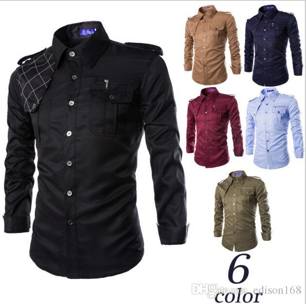 2018 2016 New Fashion Men Cotton Long Sleeve Shirts With Shoulder ...