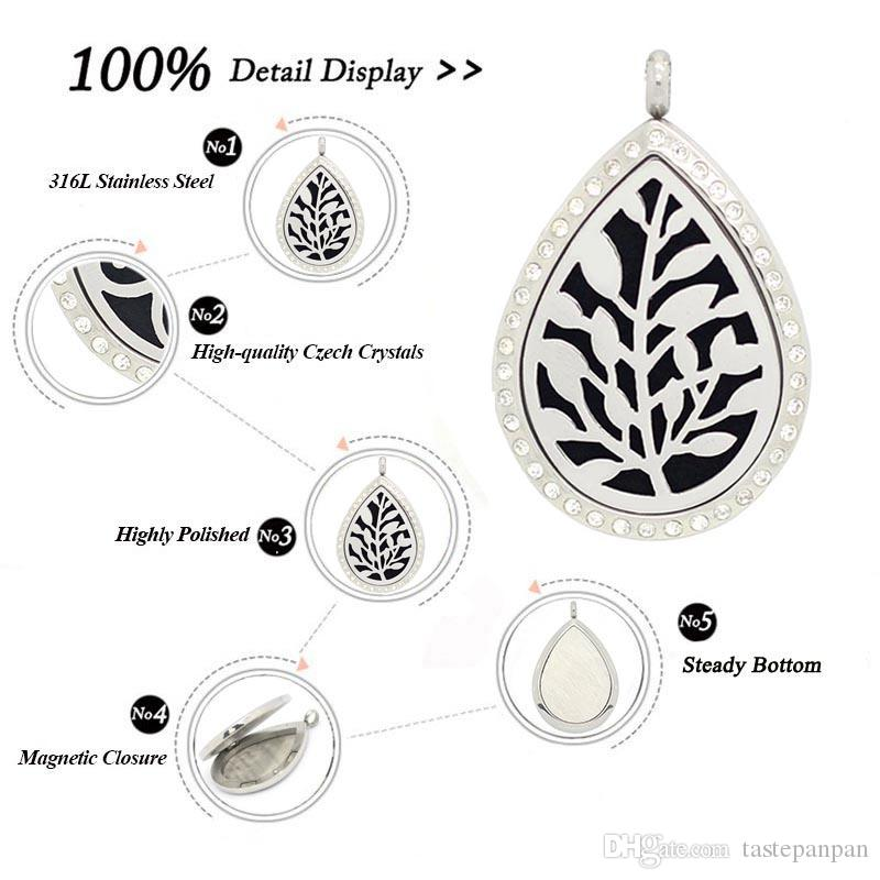Com corrente como presente! árvore de lágrima da vida Aromaterapia / Óleos Essenciais Perfume de Aço Inoxidável Difusor Medalhão