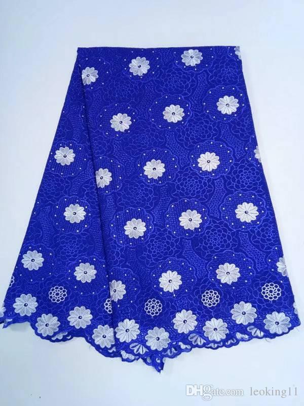 5 Yds/pc Gorgeous yellow embroidery african cotton fabric and blue flower design swiss voile lace for clothes BC151-3