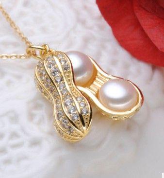 3 pcs nice inlay diamond peanut pearl pendant women s 925 silver necklace  1688 fdged