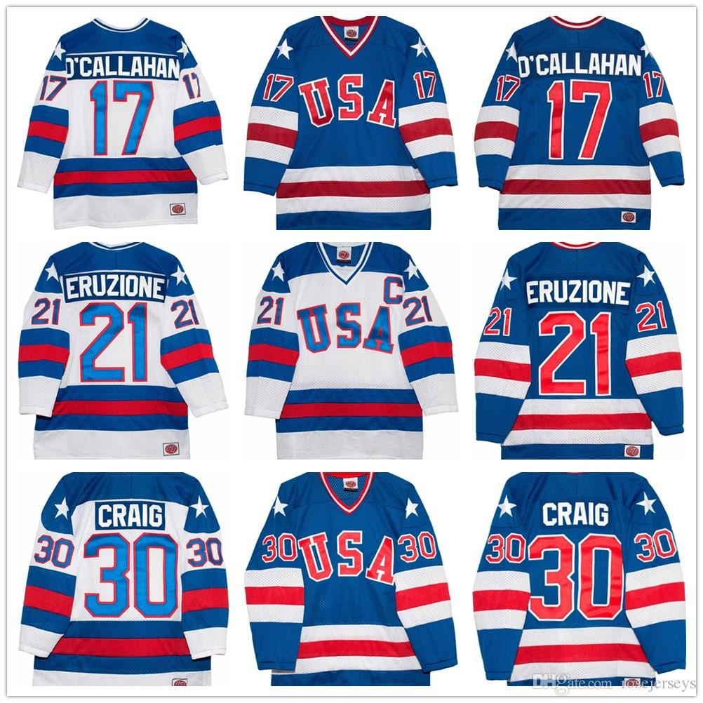 2019 1980 Olympics Team USA Hockey Vintage Jersey  30 Jim Craig 21 Mike  Eruzione 17 Jack O Callahan Royal Blue White Stitched Retro Mens Jerseys  From ... 4d969b2cd