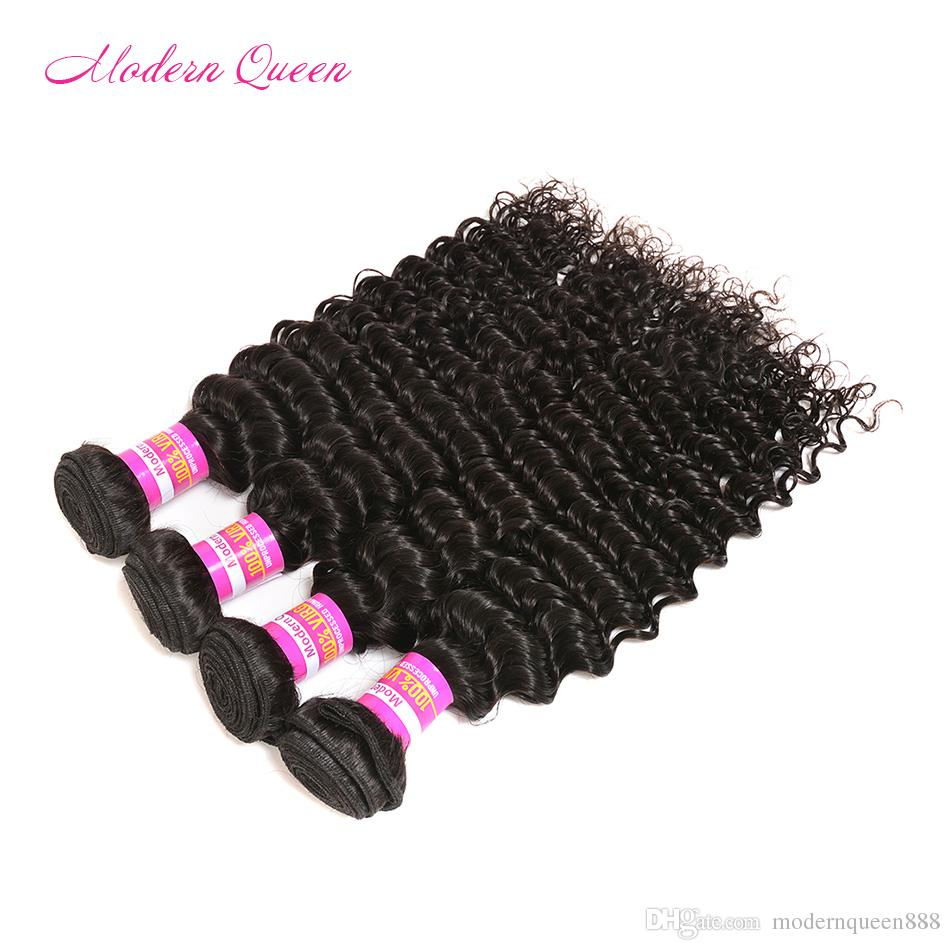 8A Mongolian Deep Wave Curly Lace Closure And 4 Bundles Hair Wefts Cheap Bulk Mongolian Wet And Wavy Human Hair Extension Deals Women Hair