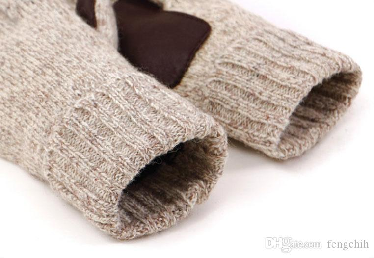 Mens Knit Five Fingers Gloves 2 Classic Color Beige Grey Winter Gloves 60% Wool And Real leather Antiskid Mittens