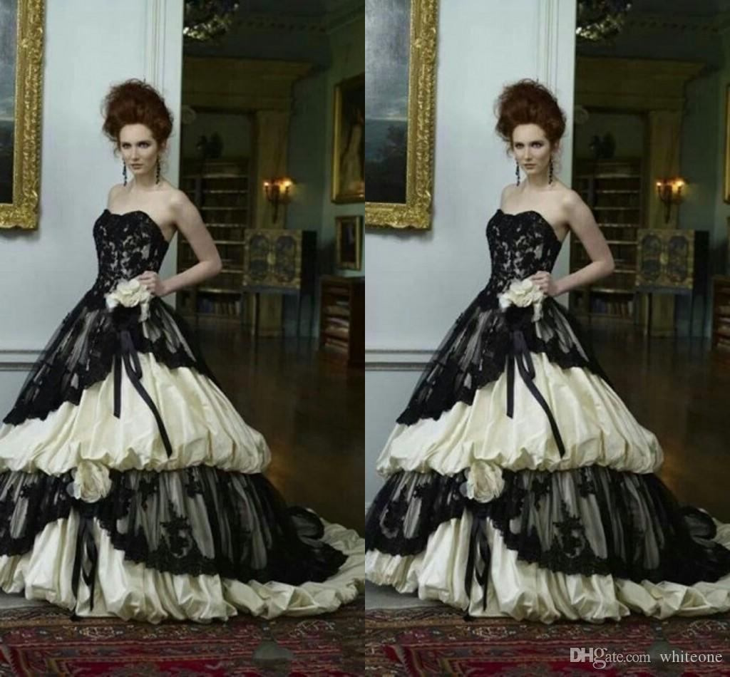 Gothic Wedding Dresses 2016 A Line Strapless Black Taffeta: 2016 Black And Champagne Lace Gothic A Line Wedding