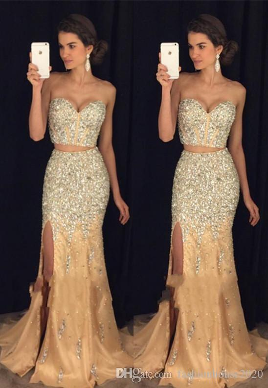 2017 New Sexy Two Pieces Champagne Tulle Prom Dresses Sweetheart Crystal Beading Side Split Mermaid Party Dress Formal Evening Gowns
