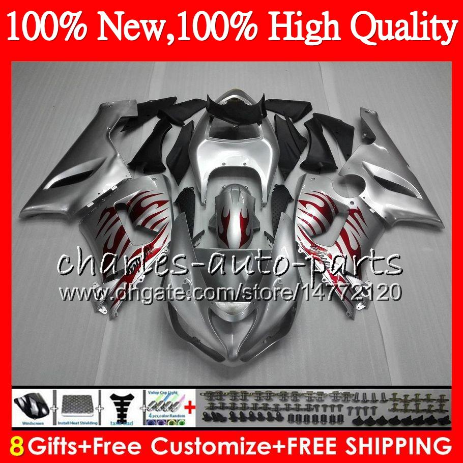 Body For KAWASAKI NINJA ZX-636 ZX-6R 05-06 600CC HM.46 Red flames Bodywork ZX 636 ZX 6R 2005 2006 ZX636 ZX6R 05 06 Fairing kit Silvery red