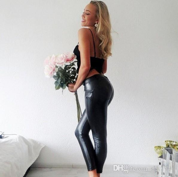 Leggings in pelle in pelle nera a vita bassa PU, leggins magri le donne