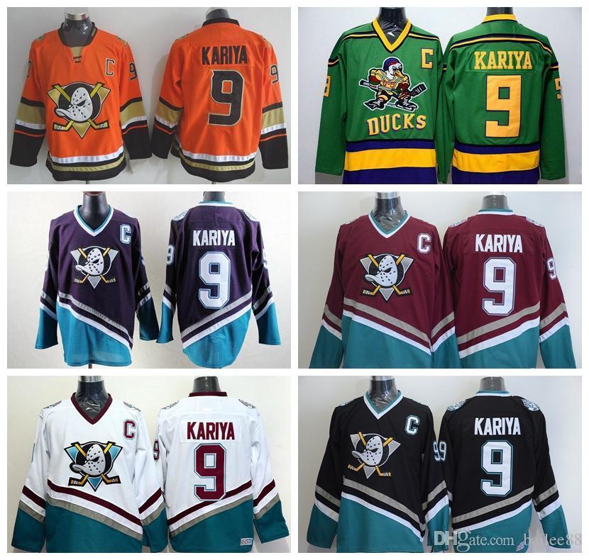 Shop Hockey Jerseys Online, Throwback 9 Paul Kariya Jersey Sport Anaheim  Ducks Stadium Series 1993 Mighty Ducks Movie Green Mighty Purple Red Black  White ...