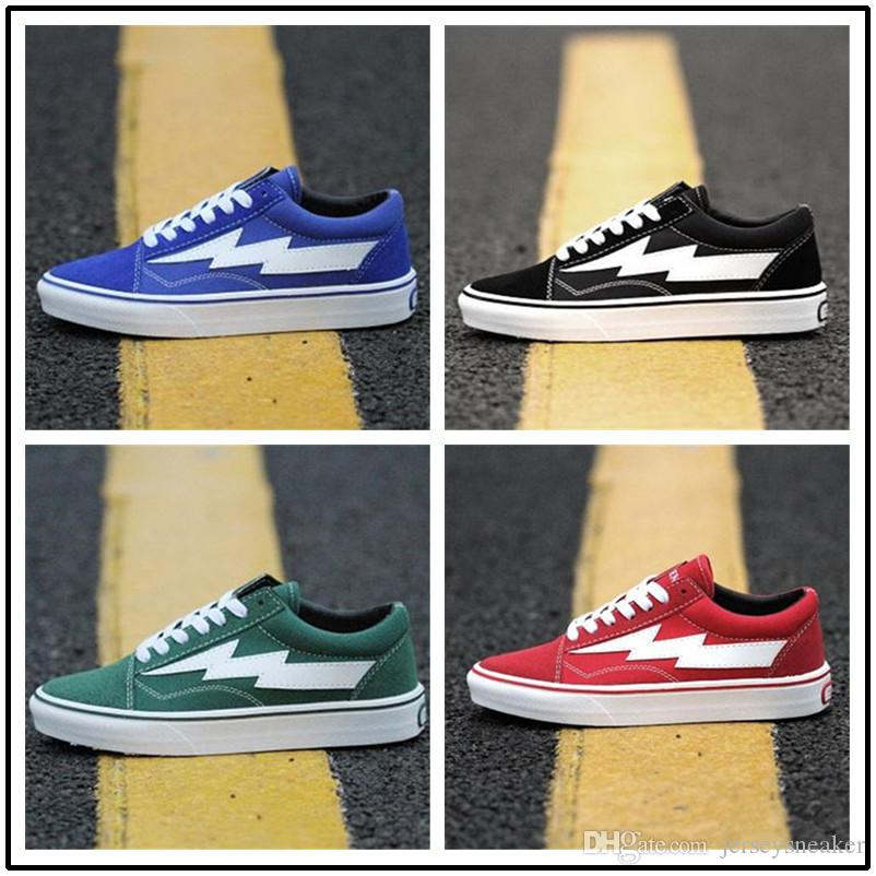 ceb9105f41b2 2019 Revenge X Storm Old Skool Classic Black White Red Blue Green Light Men  And Women Casual Sneakers Skateboard Size36 44 From Jerseysneaker