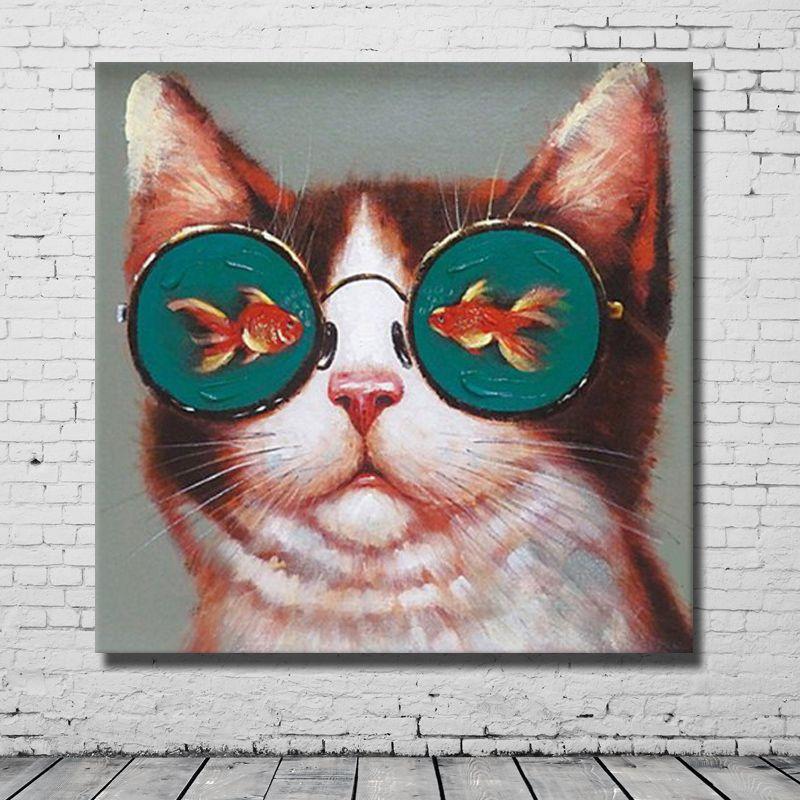 Compre El Gato Con Gafas De Pescado Divertido Pintura Lienzo Arte Imágenes Para El Dormitorio Decoración Pintado A Mano Pintura Al óleo Cuadros