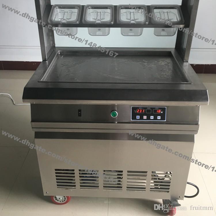 Freies Verschiffen Edelstahl 110 v 220 v Elektrische 64x40 cm Bratpfanne Thai Gebratenes Eis Joghurt Roll Maker Maschine Mit 8 Boxen