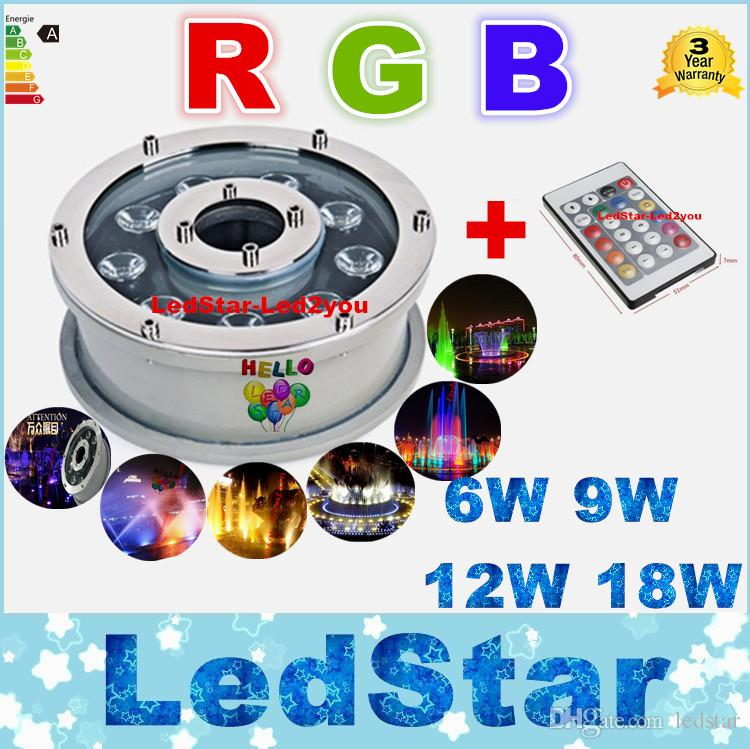 RGB Underwater Lights Fountains Led 6W 9W 12W 18W Led Swimming Pool Lights AC 12V 24V Waterproof Led Lights