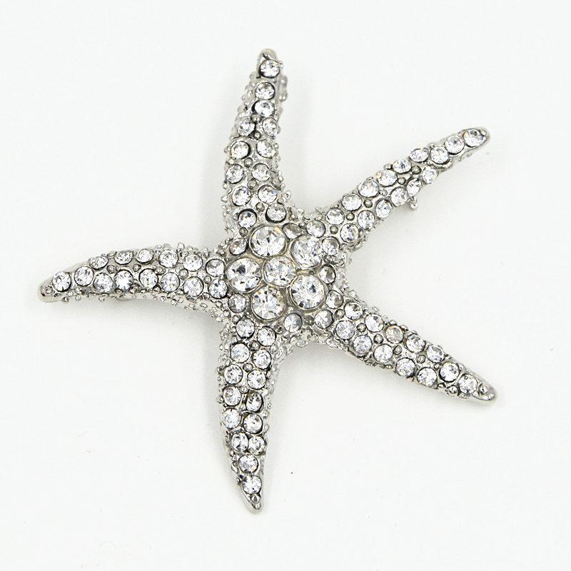 Alta Qualidade Impressionante CZ Strass Cristais Big Starfish Brooch Ródio Especial Broche Pin Para O Amigo Das Mulheres Bouquet Costume Broche