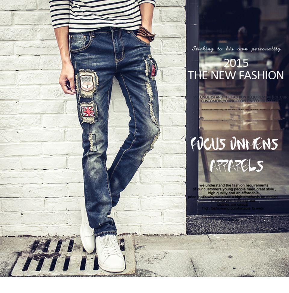 7c6e37d76d Compre Moda Nueva Rasgada Pantalones Vaqueros Flacos Para Hombre  Personalidad Rock Estilo Jean Pantalón Delgado Pantalones Flacos Para  Hombre Jeans ...