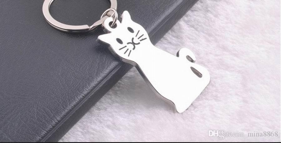 New Fashion Silver Plated Creative Model Cat Keychain Popular Versatile Metal Key Ring Key Chain Fast Shipping DHL028