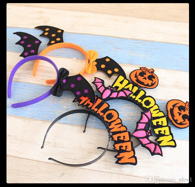 Halloween Pumpkin Hat Headbands For Children Kids Hair Accessories Party Hair Sticks Cute Bat Hair Bands