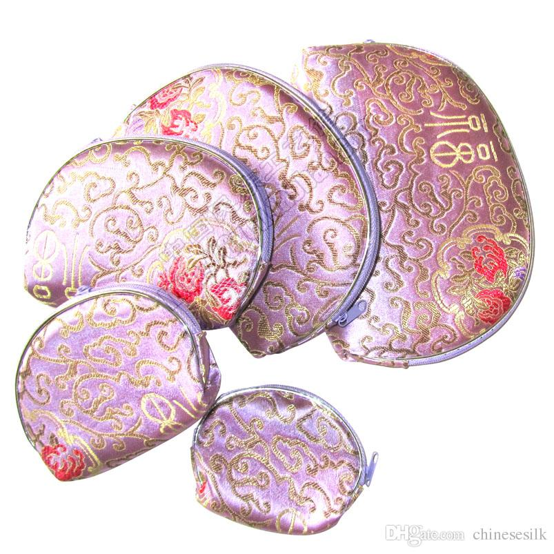 Light Silk brocade Coin Purse Travel 5 size Jewelry Storage Bag Set Zipper Cosmetic Makeup Packaging Pouch Women Phone Wallet