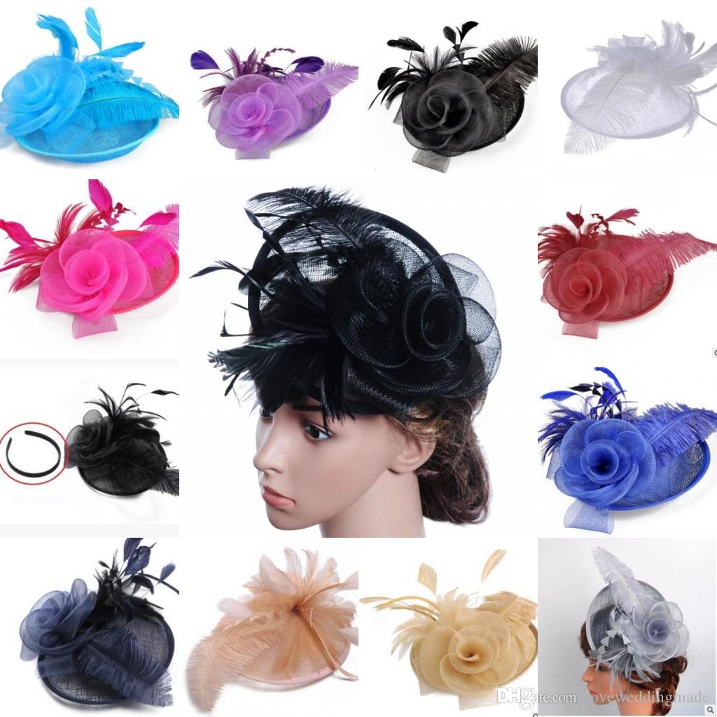 5e01a0a942542 Modern Hottest Colorful Feather Fascinator Hats For Church Wedding Party  Evening Prom 2017 Popular Ladies Headband Fascinator Hat Navy Hats From ...