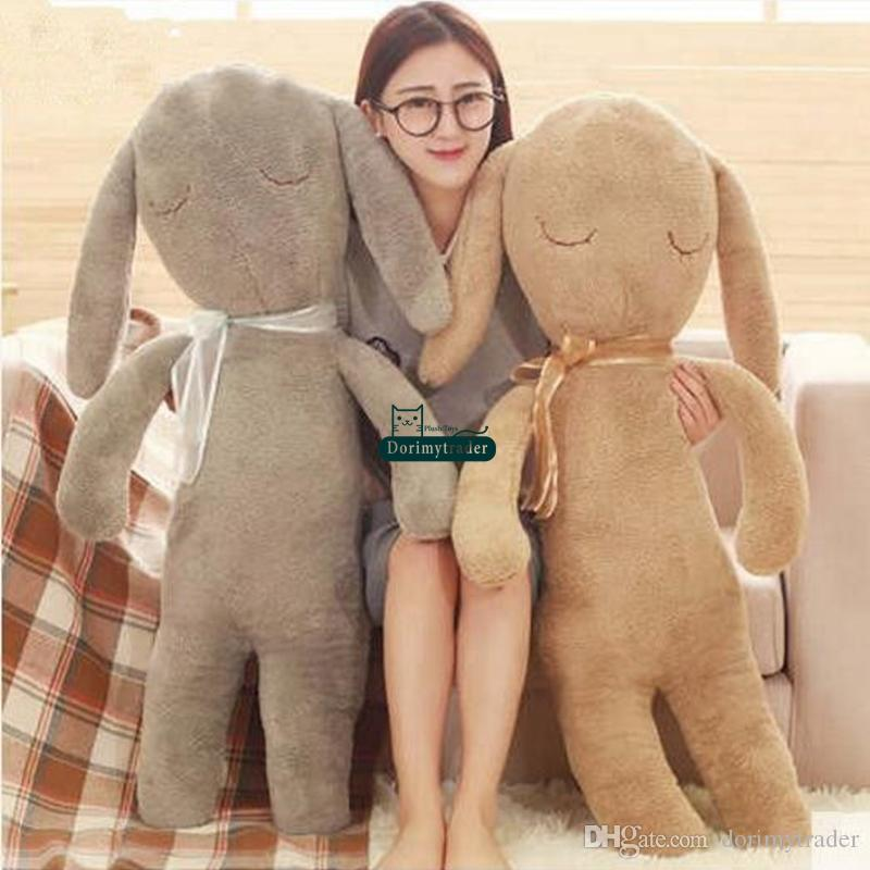 Dorimytrader Lovely Soft Cartoon Rabbit Plush Pillow Doll Giant Stuffed Anime Bunny Cushion Toy Baby Present 39inch 100cm DY60676