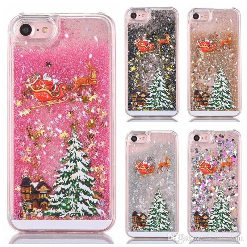 christmas tree phone case for iphone 7 7 plus cases glitter stars quicksand dynamic liquid cover santa claus gifts mobile phone case phone covers from