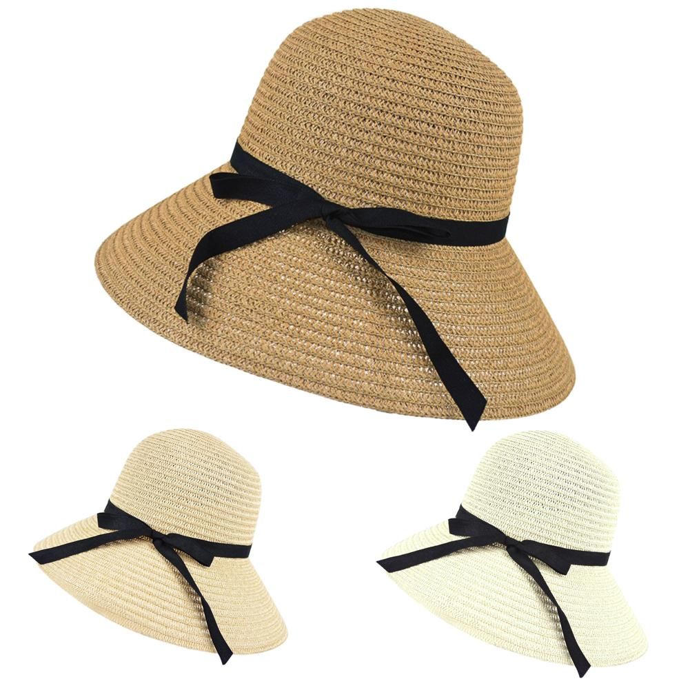 d3dc7c5f Wholesale- 2017 Women Wide Brim Summer Beach Sun Hat Straw Floppy ...