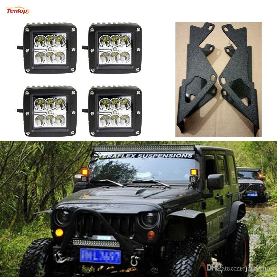 A Pillar Dual Layers Brackets 2pcs 4pcs 18w Led Tuning Light One Wire Harness For Jeep Jk 07 16