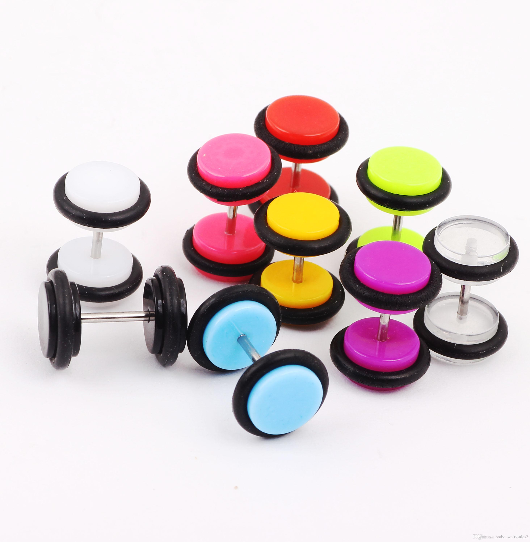 Gratis frakt Partihandel 100st / mix 10 färger 8mm örhängen Body Piercing Smycken Fake Ear Expander Ear Taper Cheater Plug Piercing