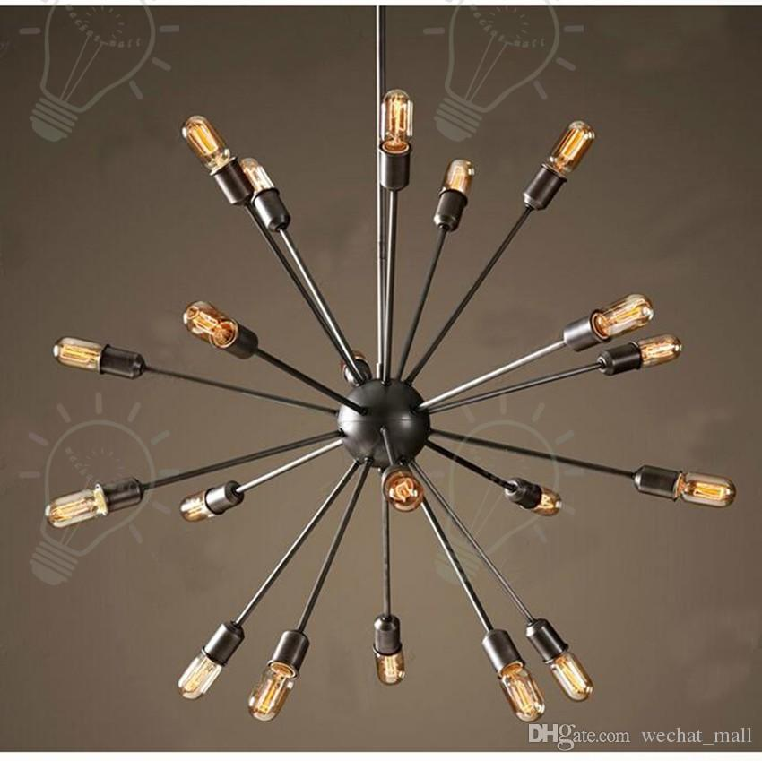 Спутниковые люстры Vintage кованого железа подвесной светильник Сферическая паук лампа Эдисона кулон освещение