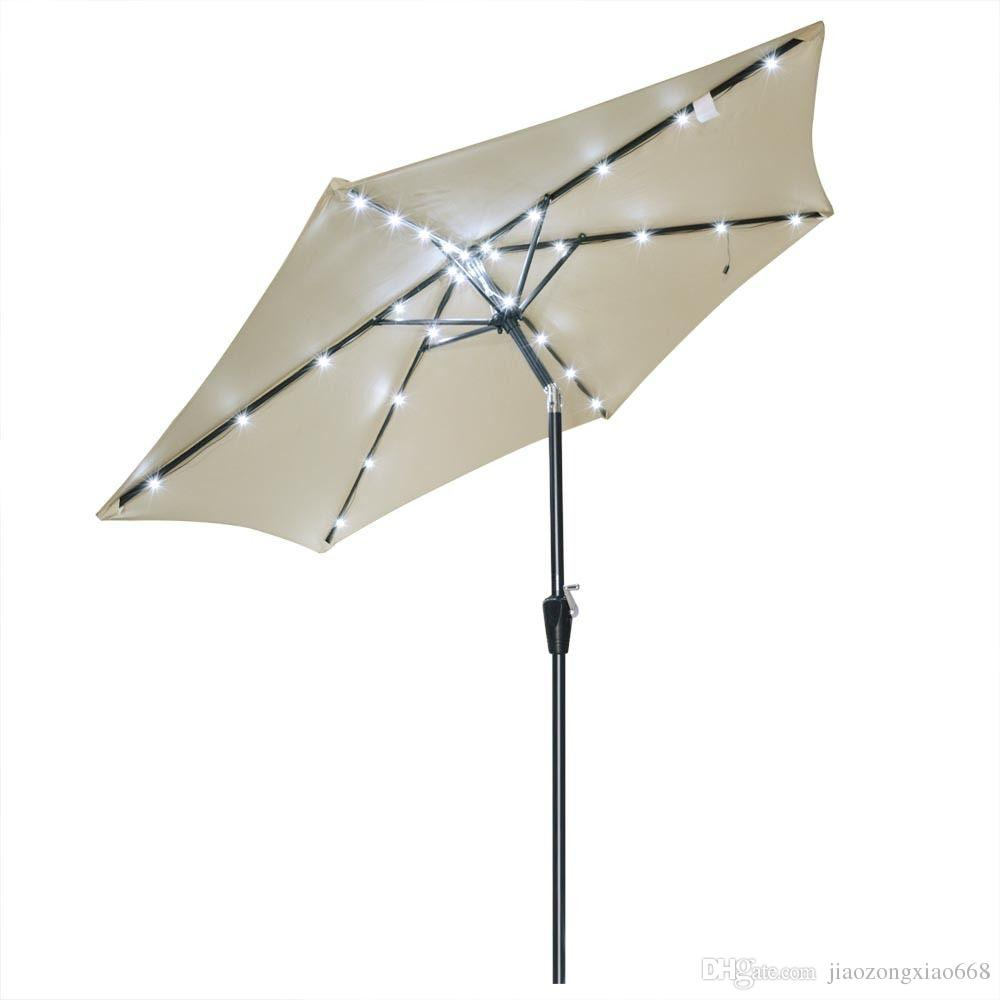 Aluminum Outdoor Patio Solar Led Umbrella Deck Market Garden Parasol