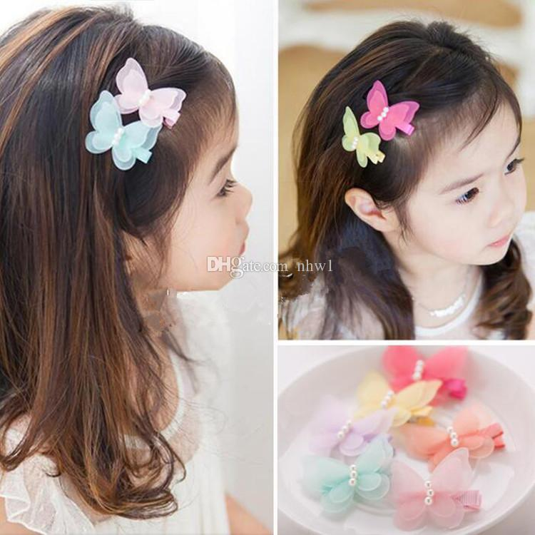 New Fashion Cute Simulated Yarn Butterfly Baby Pearl Hairpins Hair