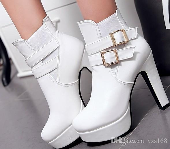 93039a70f7e European And American Style Round Head High Heel Martin Boots ...
