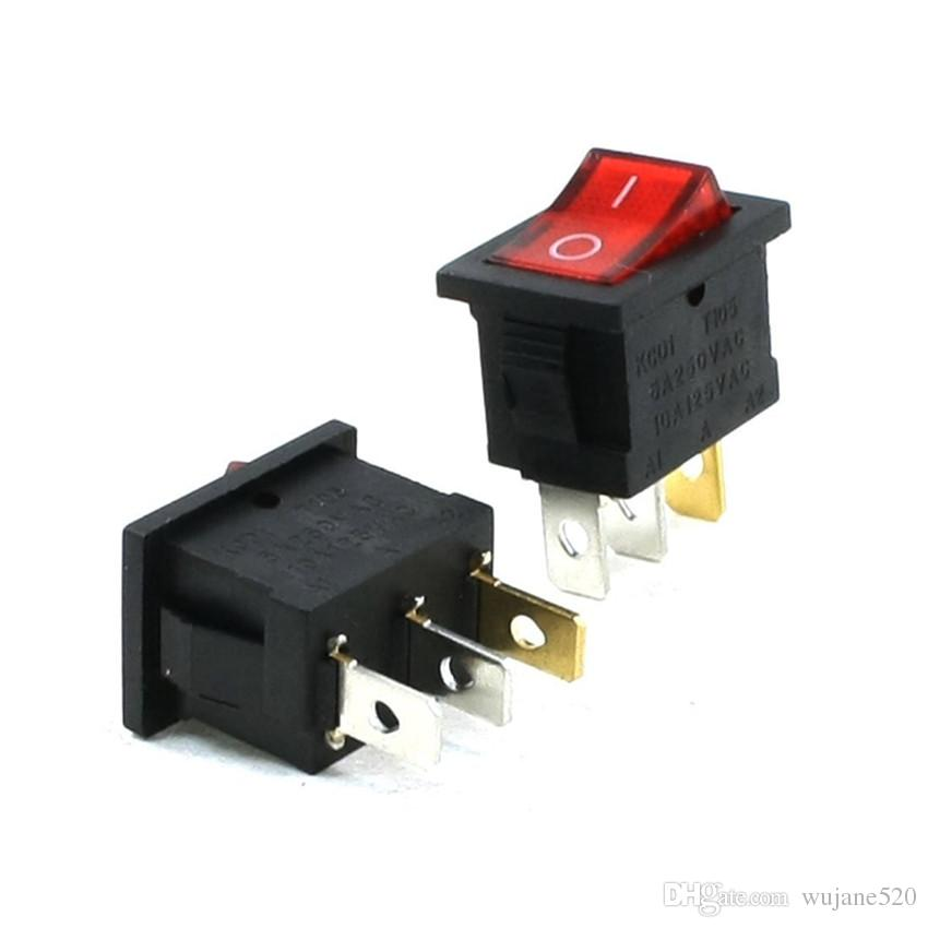 مفاتيح الروك 3 محطة ON-OFF SPST ساحة الشكل 6A / 250V 10A / 125V AC أحمر أخضر أصفر ضوء مؤشر للكهرباء السيارات قارب سيارة