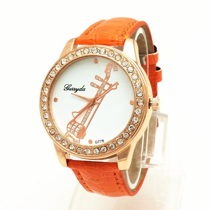 !PVC leather belt,gold plate alloy case,rhinestone circle case,music instrument UP dial,gerryda fashion woman lady quartz watch