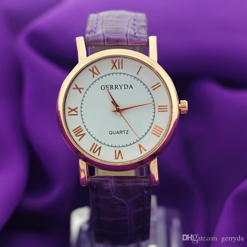 !Promotional price!PVC leather band,gold plate alloy round case,quartz movement,Gerryda fashion unisex young leather watches