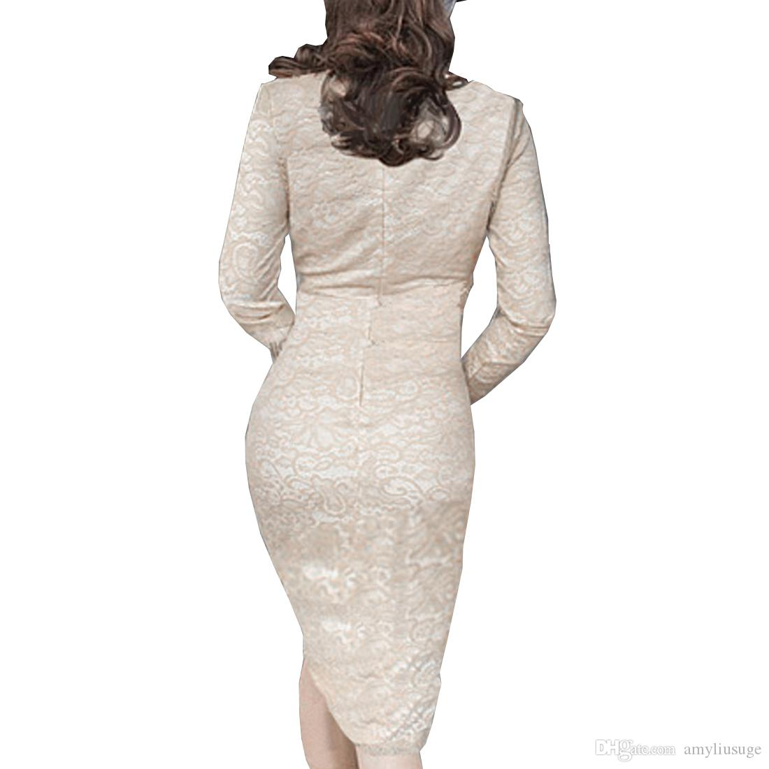 Women's Bodycon Pencil Dress Long Sleeve Lace Cocktail Club Wedding Party Formal Celeb Ladies 2016 Spring AYSB06