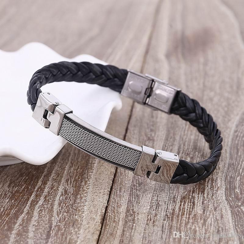 Wholesale Black Silicone Leather charm bracelet for men gifts High quality Stainless Steel Braid Silicone Bracelet & Wristband
