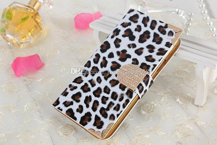 Leopard Print PU Wallet Leather Flip Cover Case Pouch W/ Magnetic Rhinestone Buckle ID Card Slots for iPhone 6 6G 6S Plus iPhone6