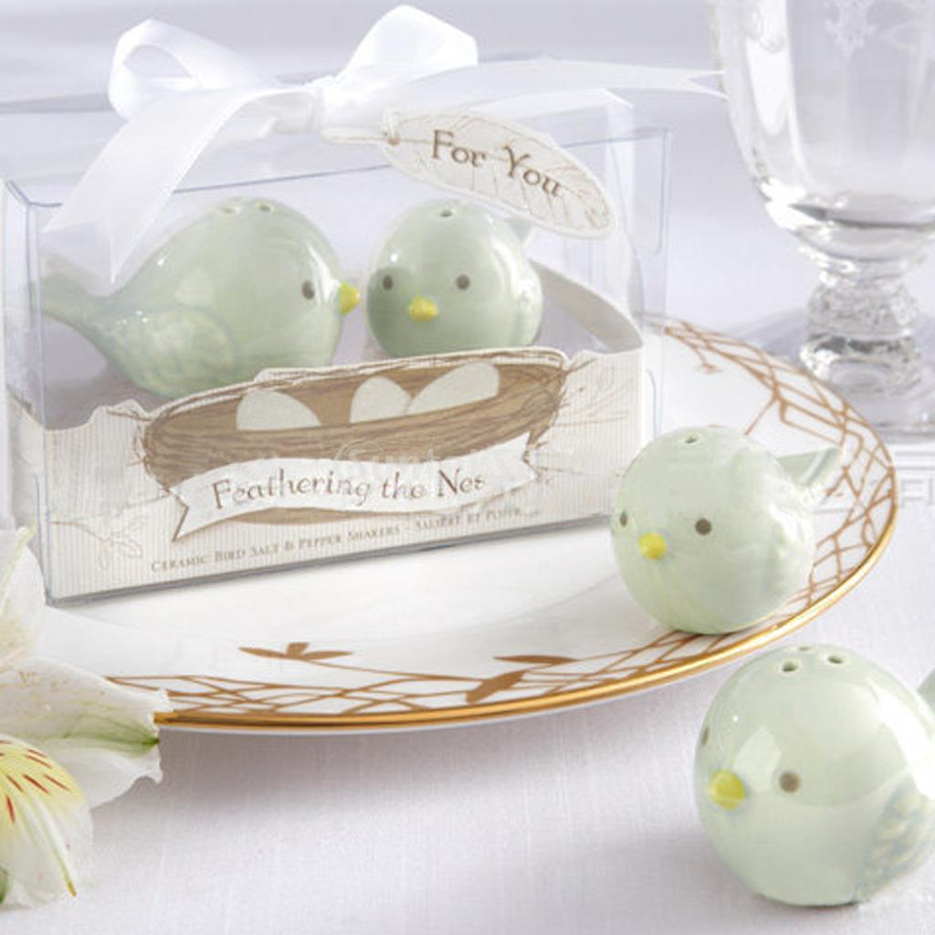 Wedding Favors Love Birds Ceramic Salt Pepper Shakers =Herb Spice ...