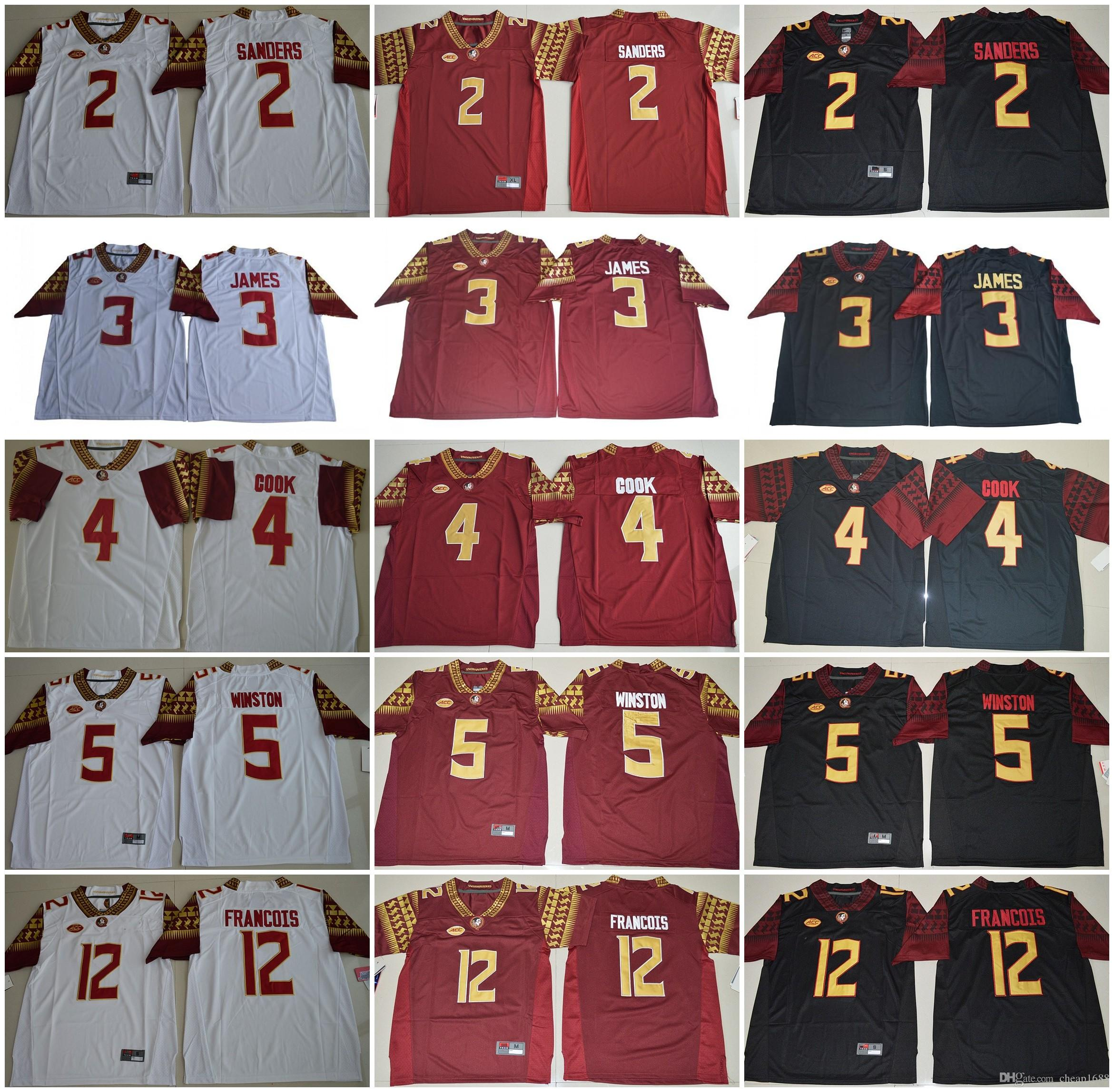 mens acc fsu florida state seminoles ncaa college football jerseys 2 deion sanders 3 james 4 cook 5