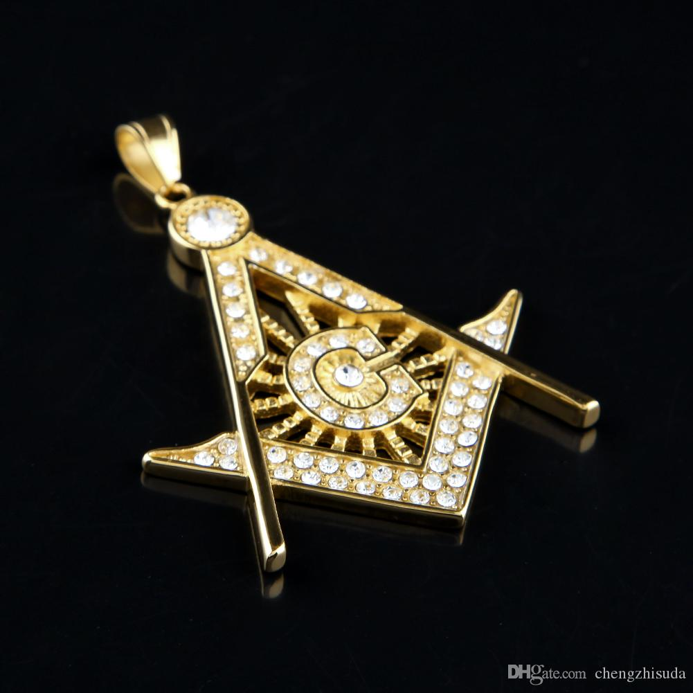 18K Gold Silver Plated Hip Hop Iced Out Pendant G Necklace Initial Masonic Symbol Compass Free Mason Men Cuban Chain Necklace