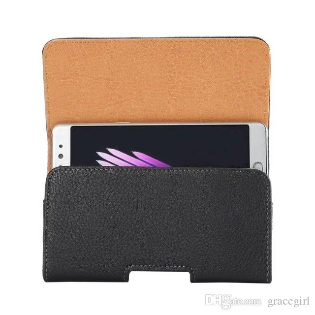 "5.7"" Universal Litchi Clip Belt Wallet Leather Case Pouch For Samsung Galaxy NOTE5 NOTE4 S7 S6 Edge Plus Huawei Honor 6 Plus P9 Cover"
