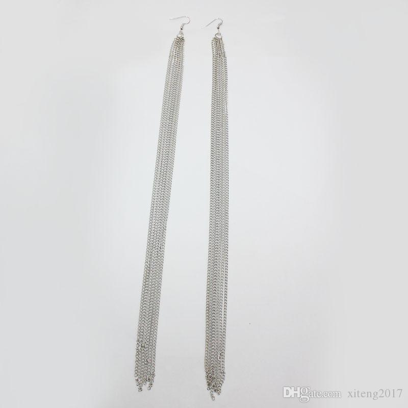 Exaggerated Bohemian Fashion Long Alloy Tassels Earrings For Women Ethnic Gold & Silver Plating Statement Dangle Earrings Fit Daily Holiday