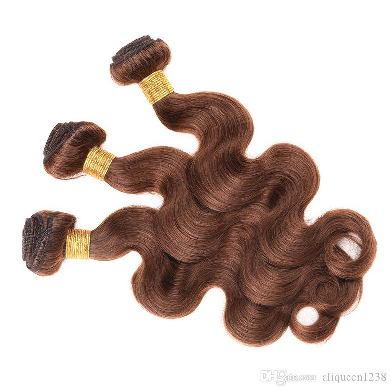 "Body Wave Malaysian Hair Weave Bundles 1 Bundle Remy Human Hair Bundles 10""-30"" Hair Extension #4 Brown Color Free Shippment"