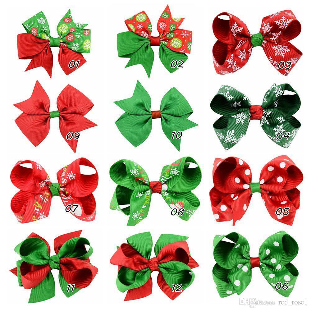 女の子のヘアアクセサリーベビークリスマスギフトヘアクリップ子供パーティー弓幼児のヘアボーンリボンヘアクリップヘッドウェア