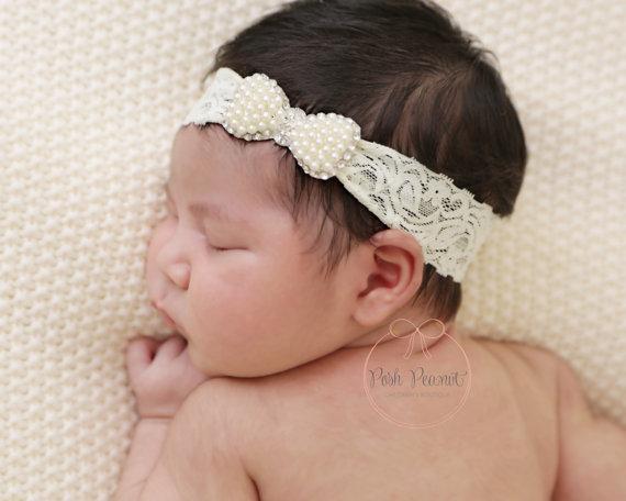 Новорожденный ребенок кружевные повязки для девочек роскошные блестящие стразы с жемчугом повязки на голову дети принцесса ободки для волос головные уборы детские аксессуары для волос KHA517